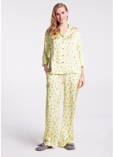 Dagi Truvakar Kol Pijama Takımı Sarı